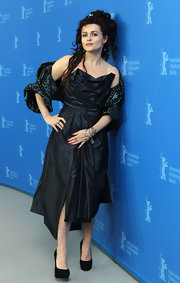 Helena donned a gathered deep blue cocktail dress with a textured shrug for the Berlin Film Festival.