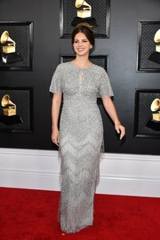 Lana Del Rey glittered in a fringed and beaded silver column dress at the 2020 Grammys.