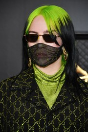 Billie Eilish looked striking wearing this black and neon-green layered cut at the 2020 Grammys.