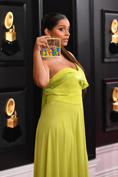 More Pics of Lilly Singh Platform Sandals (4 of 12) - Heels Lookbook - StyleBistro [dress,yellow,clothing,shoulder,beauty,formal wear,fashion,cocktail dress,gown,fashion model,arrivals,lilly singh,staples center,los angeles,california,annual grammy awards,lilly singh,staples center,grammy awards,2020,dress,green dress,lookbook,cocktail dress,green dress demo,photograph]