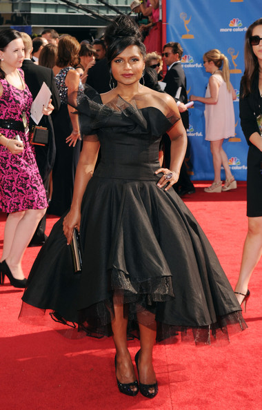 More Pics of Mindy Kaling Peep Toe Pumps (4 of 7) - Heels Lookbook - StyleBistro [red carpet,dress,clothing,carpet,event,flooring,premiere,fashion model,fashion,little black dress,arrivals,mindy kaling,primetime emmy awards,california,los angeles,nokia theatre l.a. live,annual primetime emmy awards]