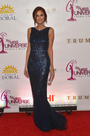 Alyssa Campanella chose a fully sequined navy gown for the Miss Universe Pageant.