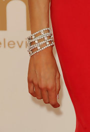 Giuliana Rancic strode the red carpet at the 63rd Emmys wearing a stack of three brilliant cut diamond bracelets set in platinum.