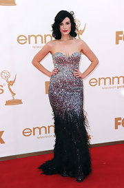Jessica dazzled at the Emmys in a strapless silver and black ombre sequin and ostrich feather beaded gown.