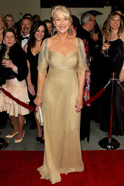 Helen Mirren wore a cream chiffon gown with beaded sleeves to the DGA Awards.