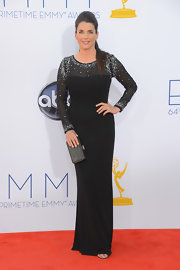 Juliette Binoche stepped out onto the red carpet of the Emmy Awards in this sparkling evening dress.