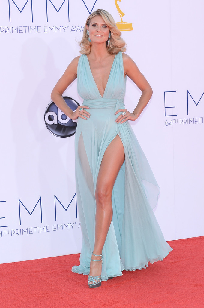 Model Heidi Klum arrives at the 64th Annual Primetime Emmy Awards at Nokia Theatre L.A. Live on September 23, 2012 in Los Angeles, California.
