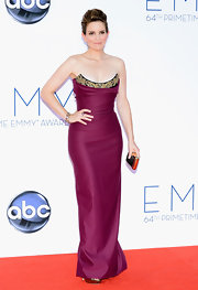 Tina Fey has never looked better than in this cranberry bustier gown!