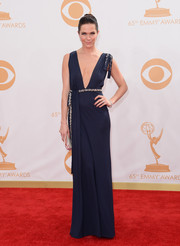 Katie wore a Grecian-inspired frock with a