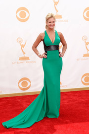 Nancy O'Dell had us green with envy on the red carpet when she wore an elegant emerald gown with leather paneling.