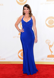 Tina turned heads in a striking cobalt blue fitted halter gown.