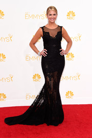 Nancy O'Dell went for a sexy, sleek black gown with a sheer skirt for the 2014 Emmy Awards.
