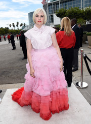 'Girls' star Lena Dunham mixed it up in a silk pastel button-down blouse, which she tucked into a layered ombre skirt.