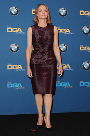 Jodie Foster chose a wine-colored Karolina Zmarlak fur sheath dress for the DGA Awards.