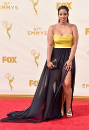 Dascha Polanco opted for a yellow and black strapless gown by Leanne Marshall when she attended the Emmy Awards.