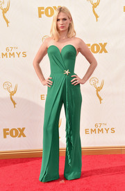 January Jones was all about cool elegance at the Emmys in a strapless green Ulyana Sergeenko Couture jumpsuit with a sculpted bodice and drape detailing.