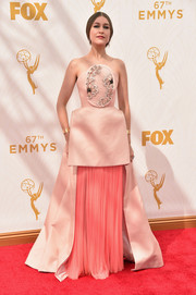 Joanna Newsom showed her unique sense of style with this Delpozo strapless gown in two shades of pink during the Emmy Awards.