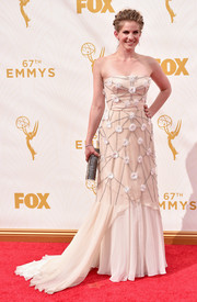 For her Emmy Awards look, Anna Chlumsky chose a Bibhu Mohapatra strapless gown adorned with a network of flower appliques.