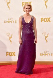 Claire Danes was playfully chic in this Prada gown, featuring purple and blue sequin stripes and chain shoulder straps, during the Emmy Awards.
