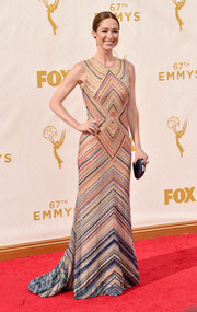 Ellie Kemper made a fun and stylish choice with this Naeem Khan gown, rendered in colorful geometric-patterned beading, for her Emmy Awards look.