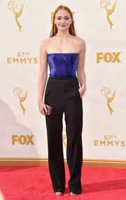 Sophie Turner eschewed a gown in favor of this strapless two-tone jumpsuit by Galvan when she attended the Emmys.