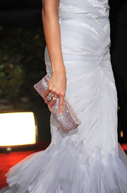 Heidi paired her beautiful light blue gown with a dazzling gemstone clutch.