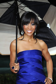 Shaun Robinson matched the sapphire hue of her strapless gown with a larger than life blue cocktail ring.