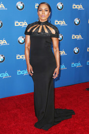 Angela Bassett was Art Deco-glam at the Directors Guild of America Awards in a black Christian Siriano gown with a cutout yoke.
