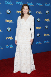 Geena Davis charmed in a white lace and lattice gown at the Directors Guild of America Awards.