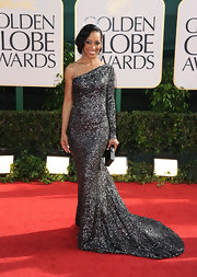 Shaun was the epitome of glamour in a sparkling one-shoulder evening gown.
