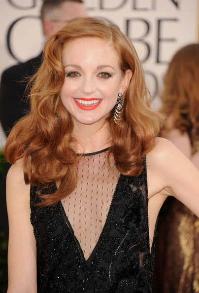More Pics of Jayma Mays Dangling Diamond Earrings (5 of 15) - Jayma Mays Lookbook - StyleBistro [hair,hairstyle,blond,long hair,beauty,lip,skin,brown hair,dress,hair coloring,arrivals,jayma mays,hotel,beverly hills,california,the beverly hilton,golden globe awards]
