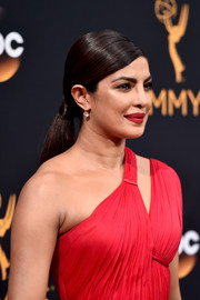 Priyanka Chopra wore her hair in a low, slicked-down ponytail during the Emmy Awards.