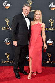 Julianne Hough chose a raspberry crossover strapless dress by Armani for her Emmy Awards look.