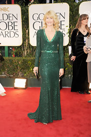 Laura Dern wore a bead-saturated emerald gown for the Golden Globe Awards.