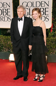 Calilsta Flockhart sported an elegant tiered-evening gown at the 2012 Golden Globes.