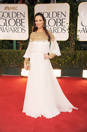 Georgina Chapman looked divine in a gown of her own creation at the Golden Globe Awards.