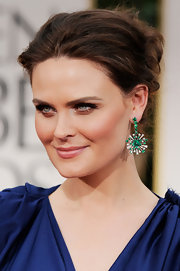 Emily Deschanel wore her hair in a chic messy updo at the 69th Annual Golden Globe Awards.