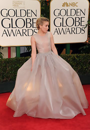 Piper Perabo wore a voluminous sheer evening gown to the Golden Globes.