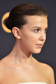 Millie Bobby Brown kept it classic with this bun at the 2017 Emmys.