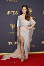 Jessice Biel complemented her sparkly dress with silver evening sandals by Stuart Weitzman.