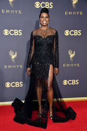 Leslie Jones worked a beaded, sheer-panel black gown by Christian Siriano at the 2017 Emmys.