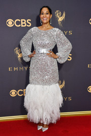Tracee Ellis Ross stood out so fabulously in a feather-hem sequin gown by Chanel Couture at the 2017 Emmys.