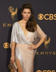 Jessica Biel accessorized with a gold Judith Leiber clutch for added sparkle to her gown at the 2017 Emmys.