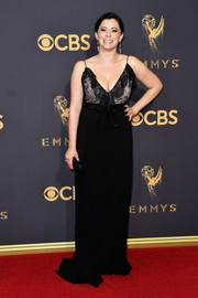 Rachel Bloom was classic and sexy in a black lace-bodice slip gown by Gucci at the 2017 Emmys.