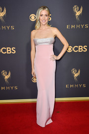 Kristin Cavallari was sweet and glam at the 2017 Emmys in a pink Kaufmanfranco column dress with a contrast illusion neckline.