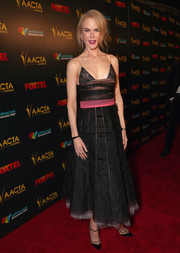Nicole Kidman captivated in a floaty black and pink cocktail dress by Rochas at the AACTA International Awards.