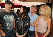 Karen Fairchild went for a rugged look with a black leather jacket at the Ride for the Cure event.