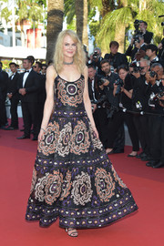 Nicole Kidman opted for a boho-glam embroidered maxi dress by Armani Privé when she attended the Cannes Film Festival 70th anniversary event.