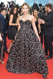Ashley Benson charmed in a strapless floral corset gown by Erdem at the Cannes Film Festival 70th anniversary event.