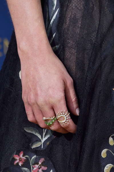 More Pics of Emilia Clarke Lace Dress (1 of 19) - Dresses & Skirts Lookbook - StyleBistro [hand,nail,finger,ring,leg,joint,jewellery,fashion accessory,wrist,plant,arrivals,emilia clarke,emmy awards,70th emmy awards,jewelry detail,microsoft theater,los angeles,california]